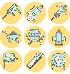 Flat line colored icons for construction equipment vector