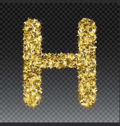 Gold glittering letter h shining golden vector