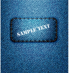 jeans label on jeans background vector image vector image