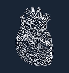 Lettering in heart vector image vector image