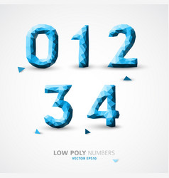 Low poly numbers font vector