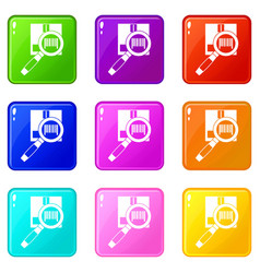 Magnifier and diskette set 9 vector