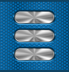 Metal oval brushed plates on blue perforated vector