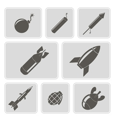 Monochrome icons with bombs vector