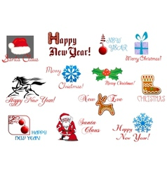 New Year and Christmas symbols vector image vector image