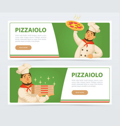 Pizzeria banner template with italian chef vector