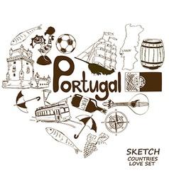 Portuguese symbols in heart shape concept vector
