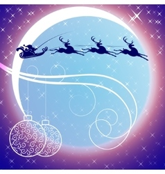 Santa claus with a reindeer on background of moon vector