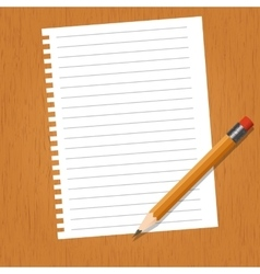 Sheet with lines and a pencil vector image