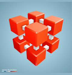Three-dimensional abstract orange cube vector