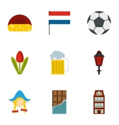 Tourism in holland icons set flat style vector