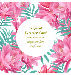 Tropical floral round card summerl vector
