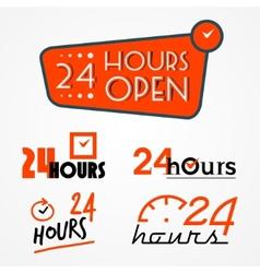 Twenty four hours labels set vector image