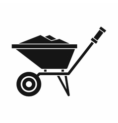 Wheelbarrow icon in simple style vector image