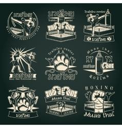 Dark Muay Thai Emblems vector image