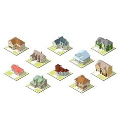 isometric image of a private house set vector image