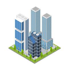 city landscape quarter and skyscraper building vector image