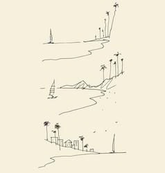 Set sketches seaside view beach sketch vector