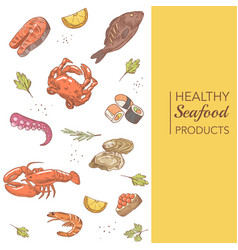 Hand drawn seafood menu design with fish crab vector