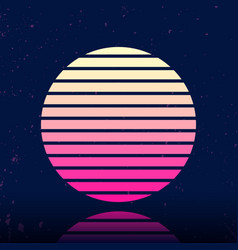 retro sci-fi background with stylized sun vector image