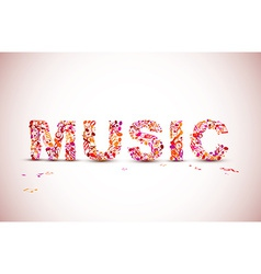 music lettering theme made from black notes vector image