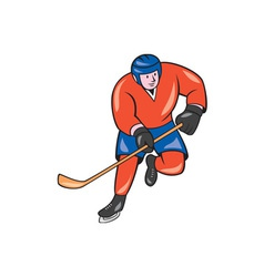 Ice hockey player with stick cartoon vector