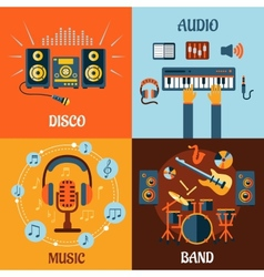 Music audio disco band flat icons vector