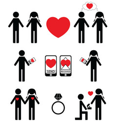 Falling in love and engagement icons vector