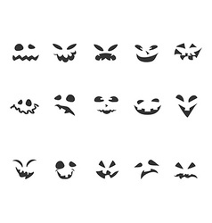 Doodle pumpkin carving face set vector