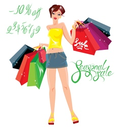 Smiling happy girl holding shopping bags vector