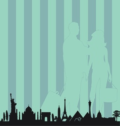 Famous monument with travel couple vector