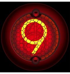 Digit 9 nine nixie tube indicator vector