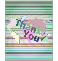 The word thank you on digital screen social vector