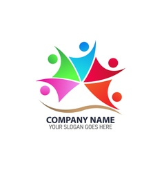 Abstract colorful group of people logo icon vector