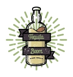 Color vintage tequila emblem vector