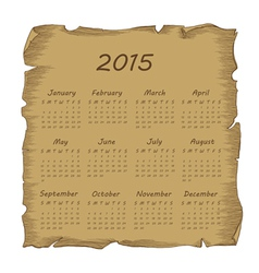aged scroll calendar 2015 vector image
