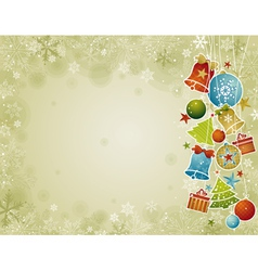 Beige christmas background with christmas ball vector
