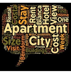 Benidorm apartments your home away from home text vector