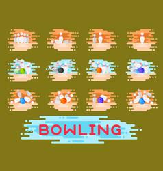 bowling emblem design template badge item vector image vector image
