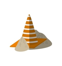 Cartoon construction cone with stripes sand vector