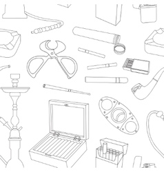 Cigarettes cigars and smoking accessories pattern vector