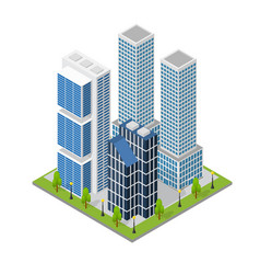City landscape quarter and skyscraper building vector