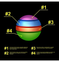Colorful Business Pie Chart on Black Background vector image vector image