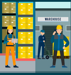 Colorful people in warehouse vertical banners vector