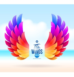 Colorful wings on a tropical sea shore vector image