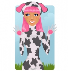 Cute girl in cow costume vector