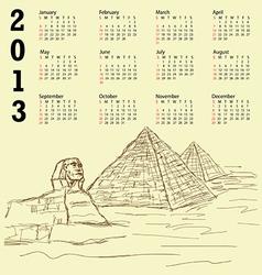 egypt pyramid vintage 2013 calendar vector image vector image