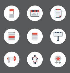 Flat icons social media ads award monitoring and vector
