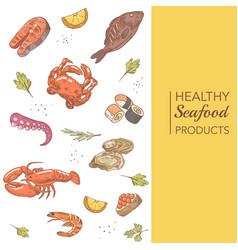 Hand drawn seafood menu design with fish crab vector
