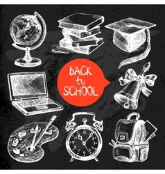 Hand drawn sketch education object set vector